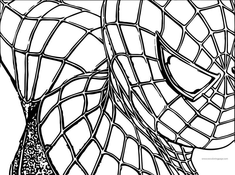 Spider Man Half Face Coloring Page