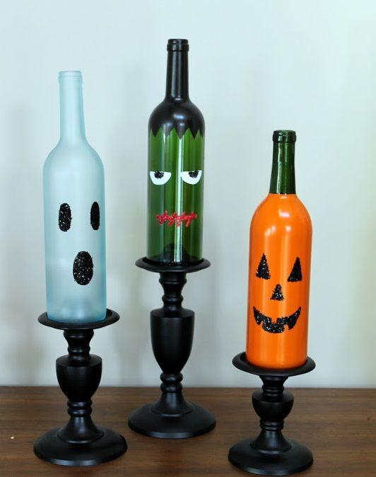 10 Wine Bottle Crafts Ideas  halloween craft made from wine bottles