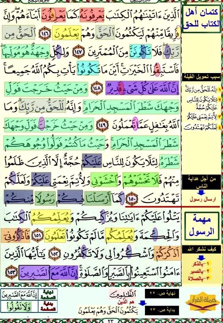 تثبيت حفظ سورة البقرة صفحة ٢٣ In 2021 Quran Verses Verses Quran