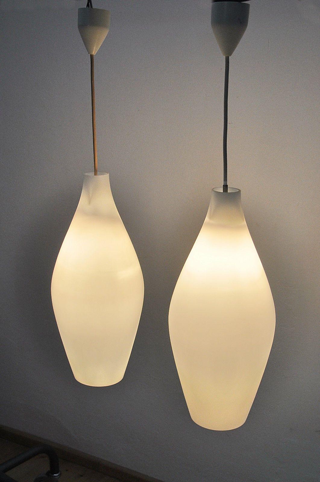 1 of 5: Paar große Opalglas Pendelleuchten Keulenform Wagenfeld Bauhaus Ära