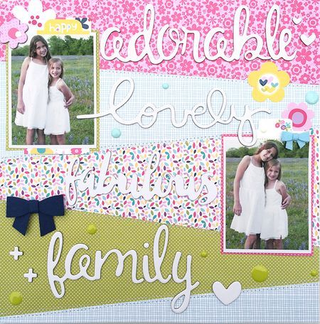 #papercrafting #scrapbook #layout - Bella Blvd Sweet Sweet Spring collection. Family layout by creative team member Heather Leopard.
