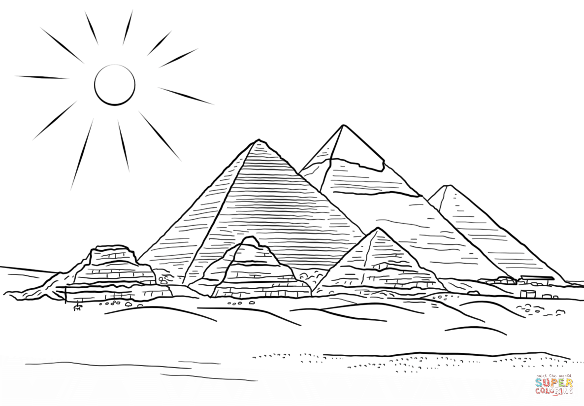 Giza Pyramids Coloring Page From Egypt Category Select From 29062 Printable Crafts Of Cartoons Nature A Pyramid Tattoo Ancient Egypt Pyramids Pyramids Egypt
