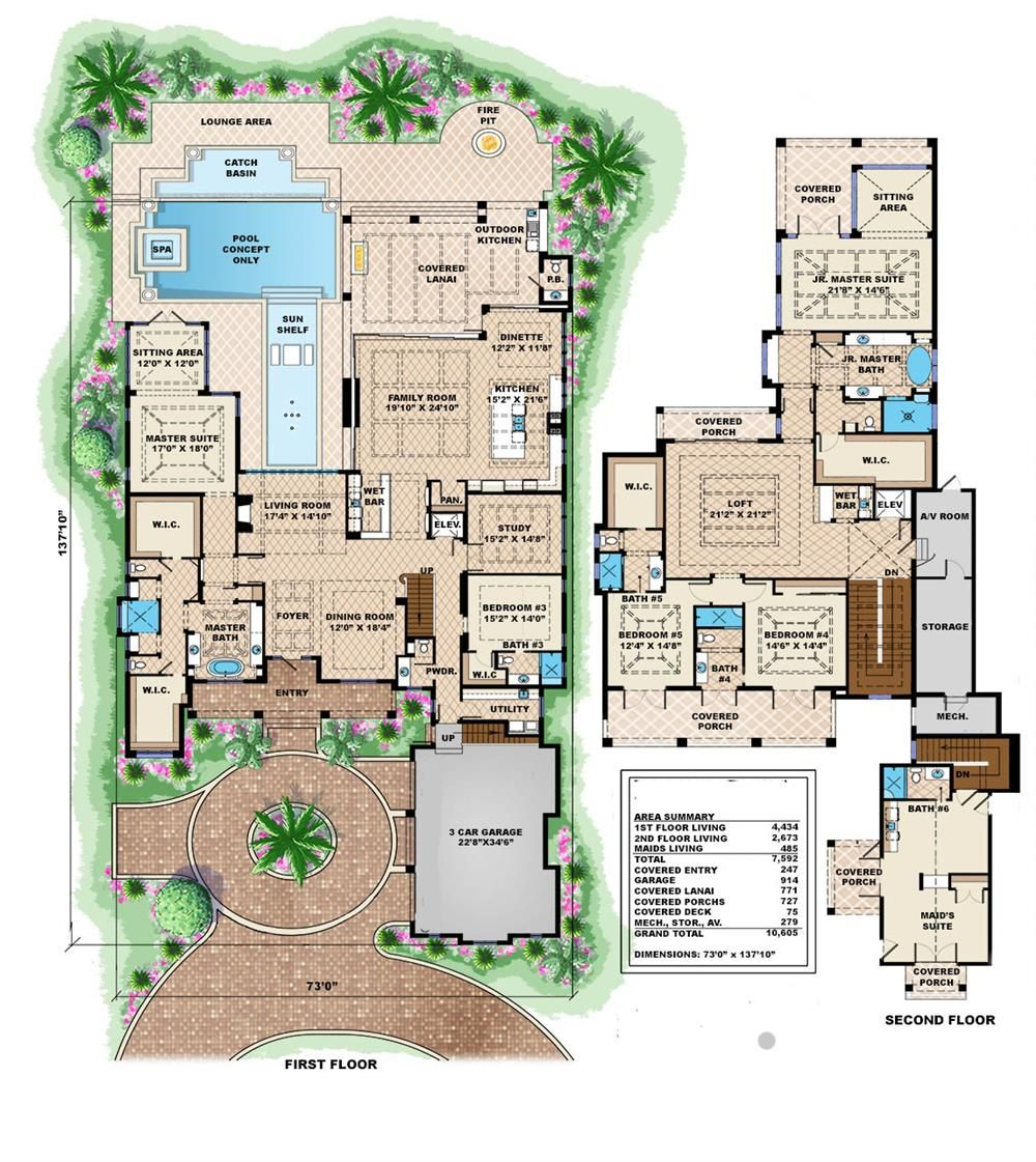 1751098 Floor Plan Main Level Beach house plan