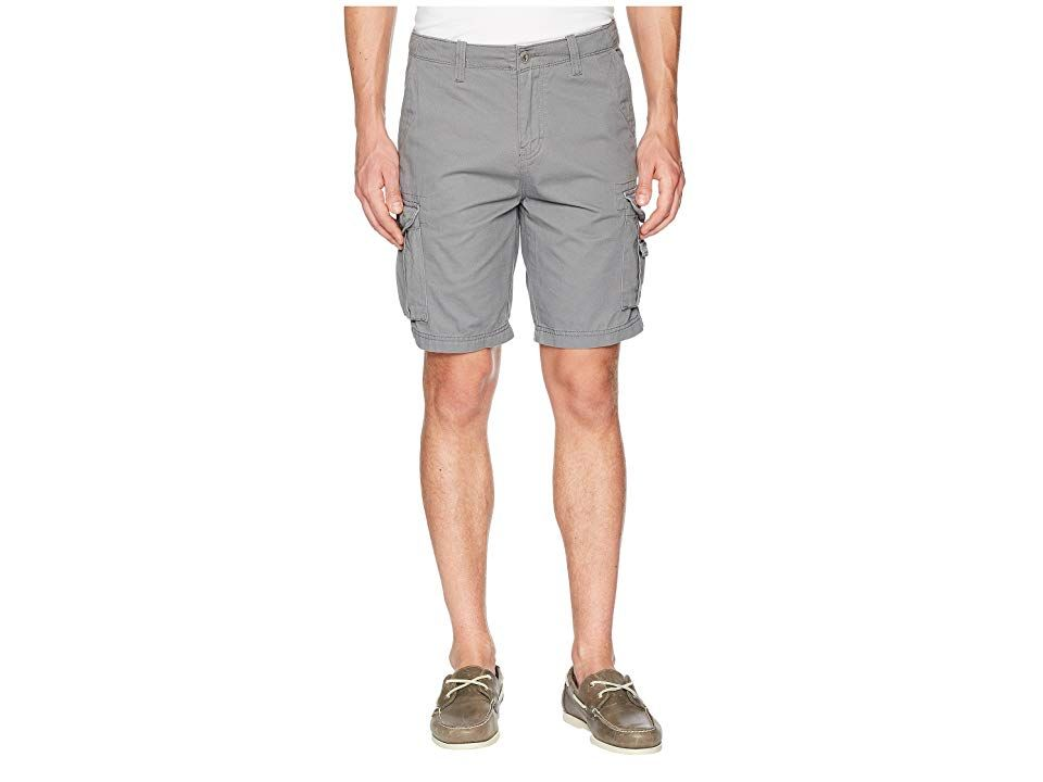 Quiksilver Crucial Battle Cargo Shorts (Quiet Shade) Men's Shorts. Join the fight against boring attire and throw on the Crucial Battle Cargo Shorts. Regular fit cargo shorts cut from a cotton-twill woven denim. Belt loop waistband. Button closure with zip fly. Versatile multi-pocket design. Heavy stone and enzyme wash. 100% cotton. Machine wash  tumble dry. Imported. Measurements: Waist Measurement: 33 in Outseam: 19 1 2 in I