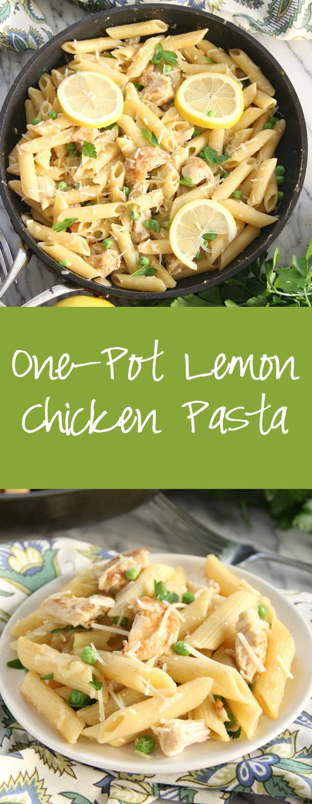 One-Pot Lemon Chicken Pasta - Eat. Drink. Love. #easyonepotmeals