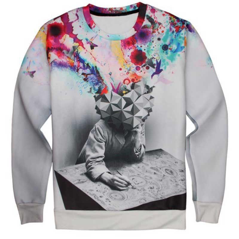 2016 [Franco] Space/galaxy 3d sweatshirt men 3d hoodies harajuku style funny print nightfall trees hombre sudadera Free Shipping