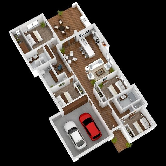 3D House Plans With Four Bed Rooms | House Plans