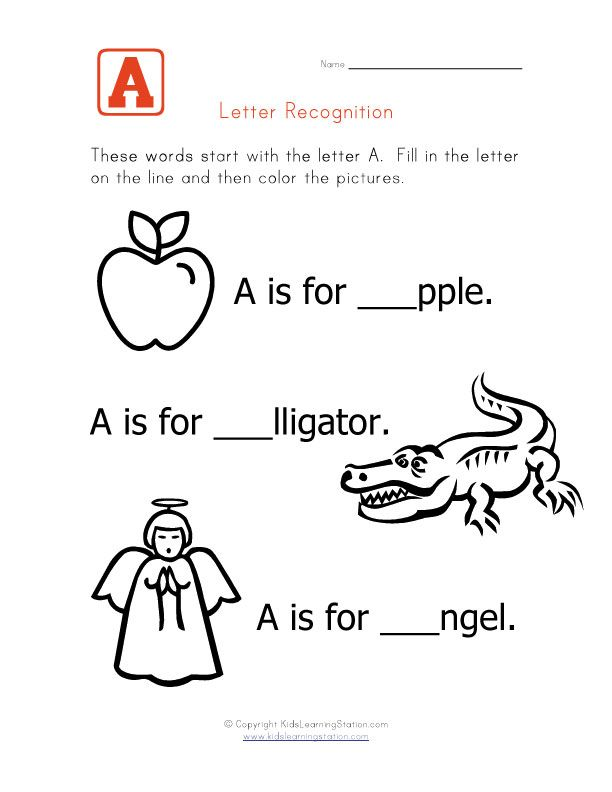 Words That Start With The Letter A  Kids Write In The Letter A To