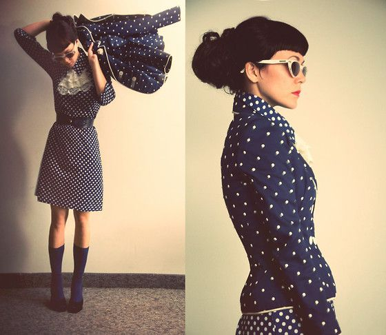 "London Fog Retro Cat Eye Sunnies From Secondhand, Oscar De La Renta Vintage Polka Dot Blazer From Christmas Gift, Frilly Collar From A Theatre Company //""Time flew"" by Emilie Martin // LOOKBOOK.nu"