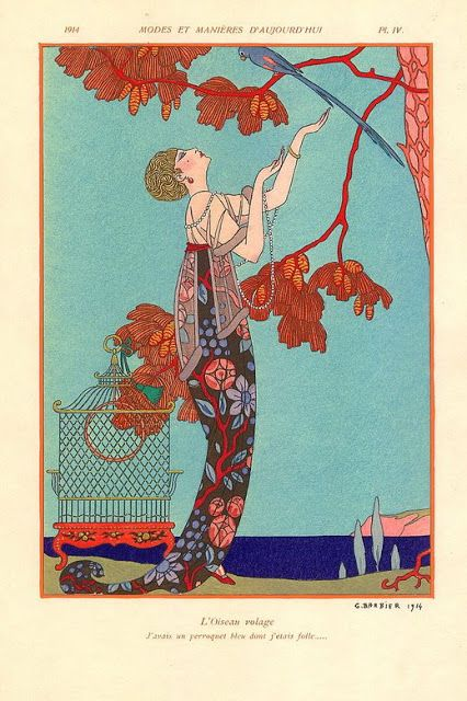 George Barbier fashion illustration,French artist George Barbier, Art Deco fashion illustration