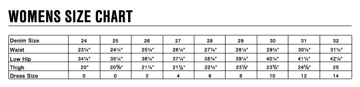 7 For All Mankind Size Chart Jeans Size Chart Size Chart
