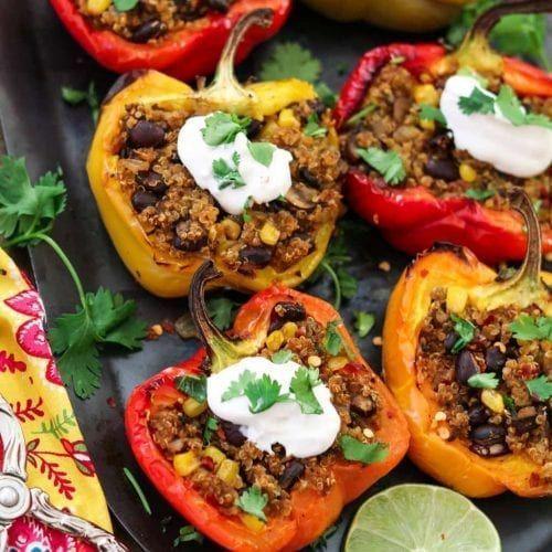 Santa Fe Quinoa Gefllte Paprikaschoten (Vegan + GF) -