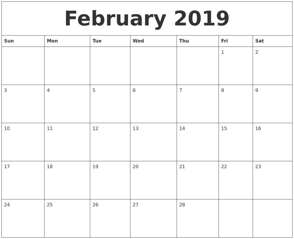 Calendar February 2019 Fillable february 2019 editable calendar template::February 2019 Calendar