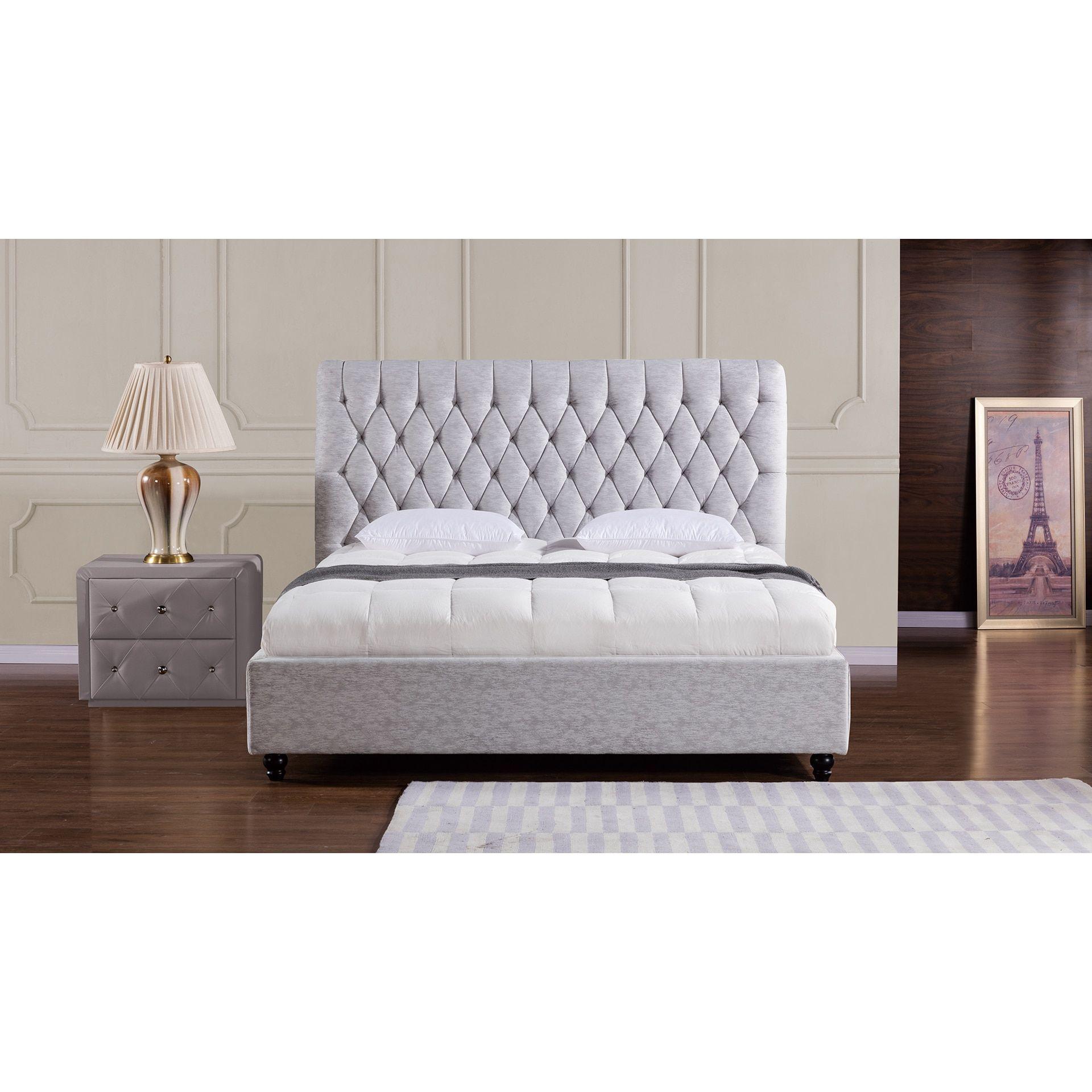 American Eagle Light Grey Fabric Bed (California King)