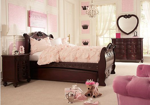 For A Disney Princess Cherry 6 Pc Twin Sleigh Bedroom At Rooms To Go Kids