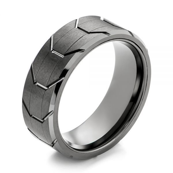 103870 This Ring Features A Black Tungsten Tread Pattern Exterior With Beveled P Mens Wedding Bands Mens Wedding Bands Tungsten Black Mens Wedding Rings Black