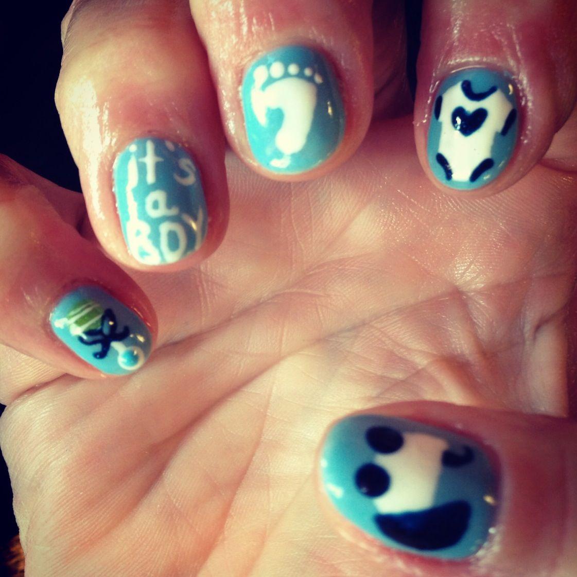 Nails Nail Art Design Baby Blue Boy Its A Boy Onesie Rattle