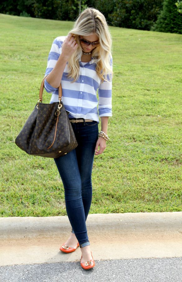 Skinny Jeans with Tory Burch Orange Reva Flats on CaliCrest.com