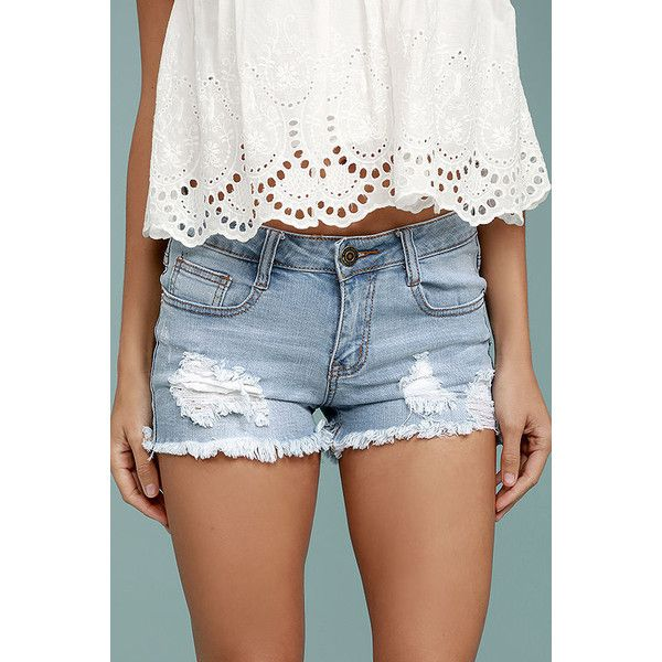 a1aa2f29e1 Road Map Light Wash Distressed Cutoff Denim Shorts ($37) ❤ liked on  Polyvore featuring shorts, blue, cut-off jean shorts, ripped jean shorts,  denim cut-off ...