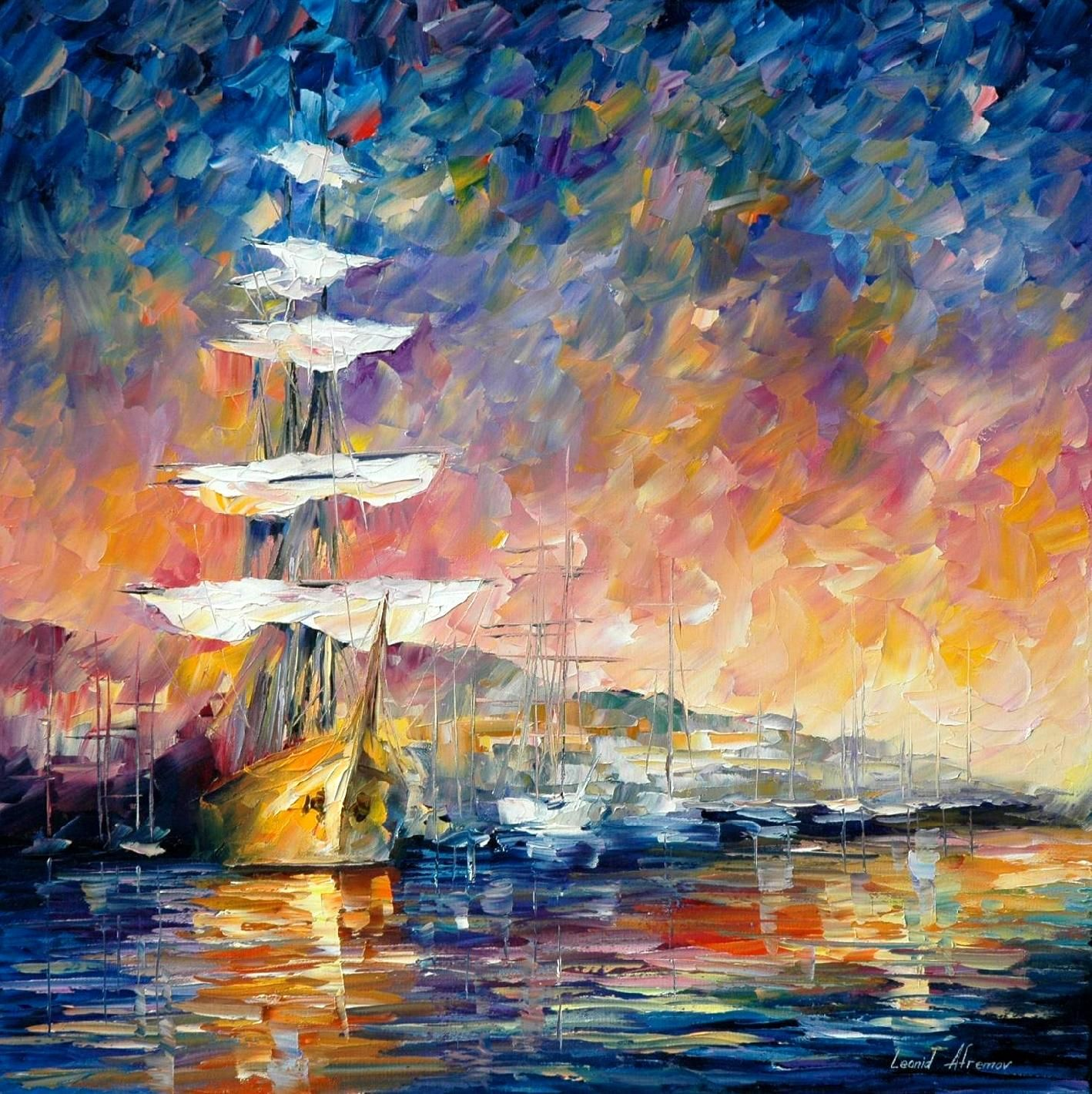 Sunset Paintings by Famous Artists | SAILBOATS IN SUNRISE ... Famous Oil Portrait Paintings