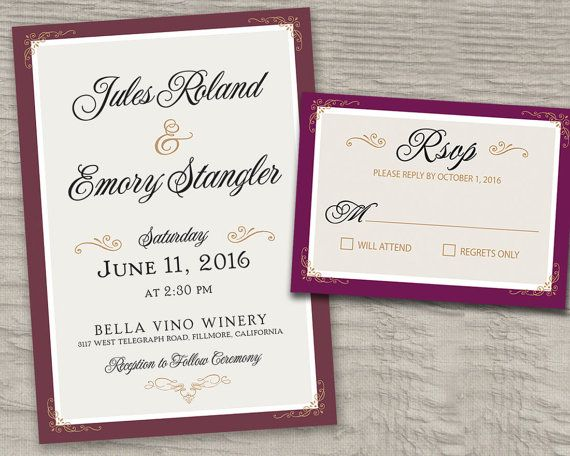 Cranberry Burgundy Blush Gold Purple Wedding Invitations Rsvp Printed Cards Postcards Winery Maroon Navy Pink C Grey