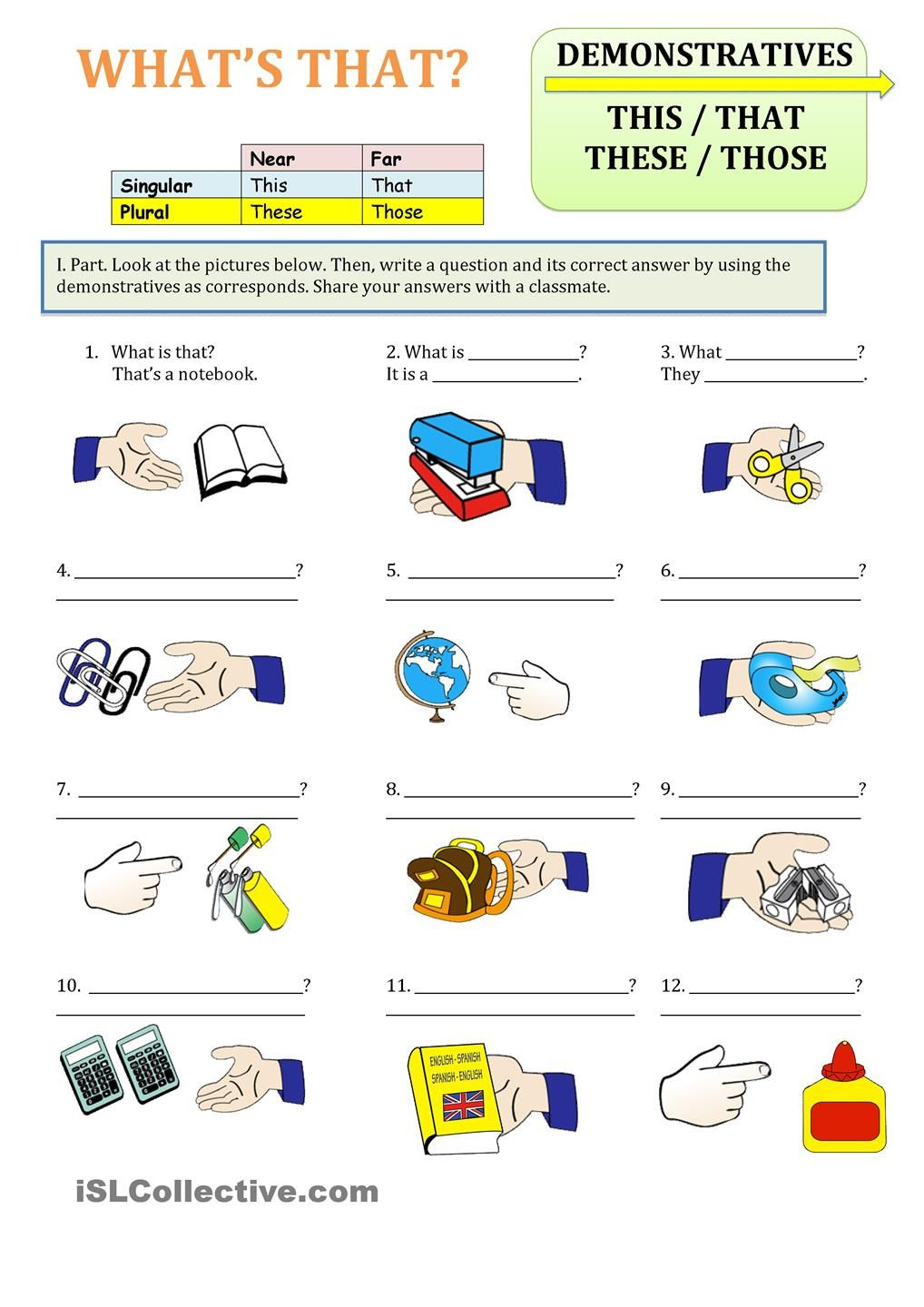 Uncategorized This That These Those Worksheets demonstratives this that those these english pinterest these
