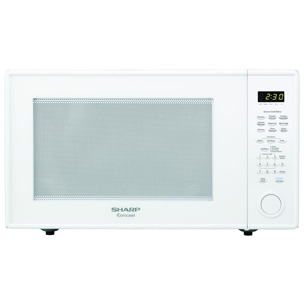 Sharp Carousel 2 2 Cu Ft 1200 Watt Countertop Microwave In White With Sensor Cooking Countertops Countertop Microwave Oven