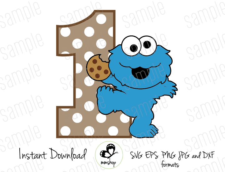 One Baby Cookie Monster Sesame Street Cuttable Design