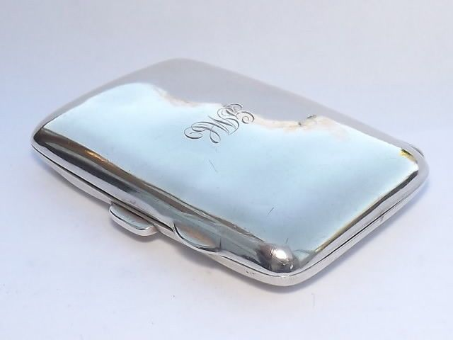 ANTIQUE HALLMARKED SOLID SILVER STERLING CIGARETTE CASE - BIRMINGHAM 1914