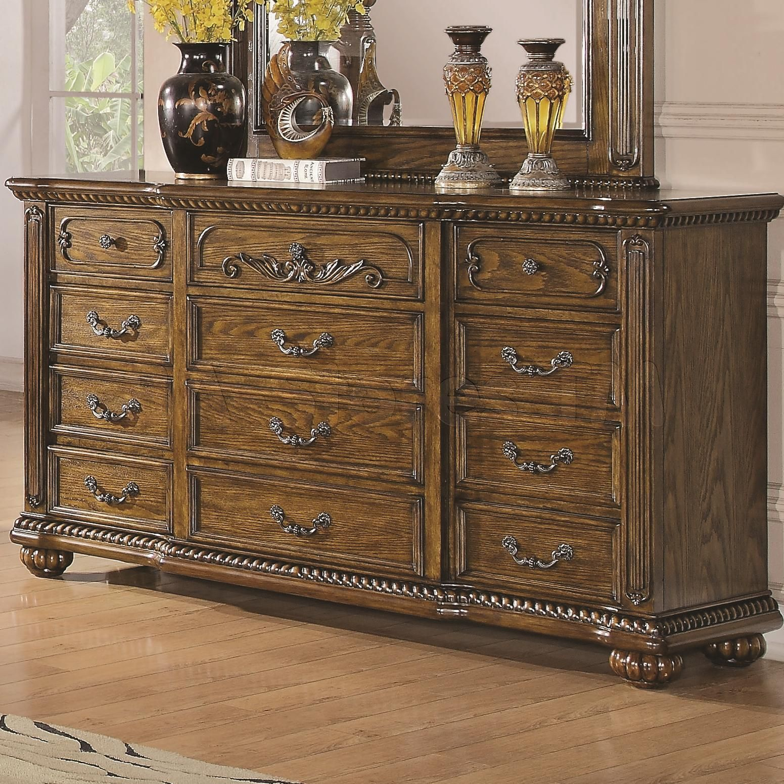 Bartole Traditional 12 Drawer Dresser Furniture Home Furnishings