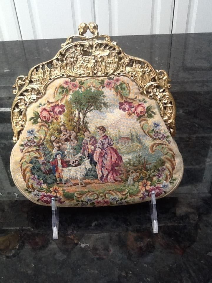 Vintage Scenic Two Sided Micro Petit Point Purse with Gilded Frame 1940s