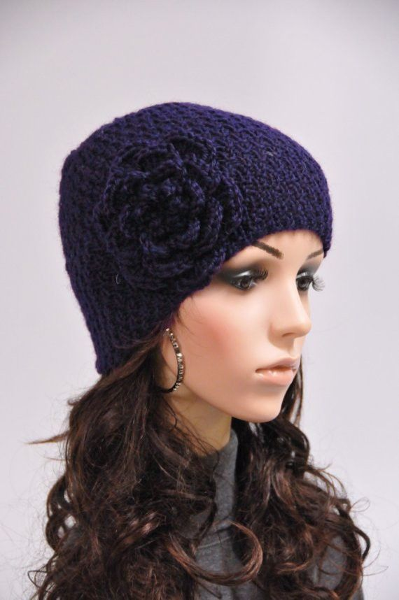81633addc91 Hand knit hat woman wool hat Navy beanie with crochet flower - ready ...