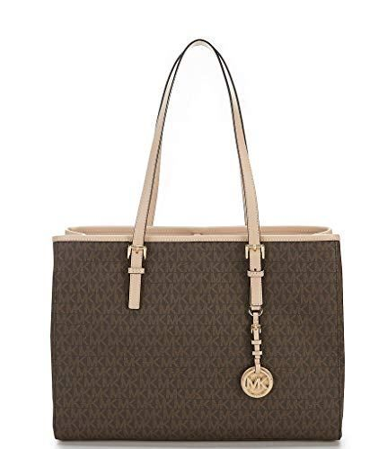 3aa2874422a4 MICHAEL KORS Jet Set Travel EW Large Signature Tote (Brown) Clout ...