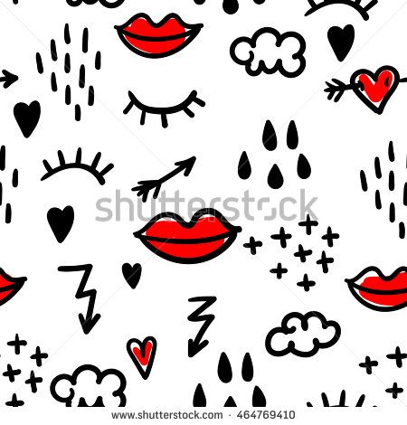 Abstract Seamless Pattern With Doodle Eyelashes Red Lips Arrows