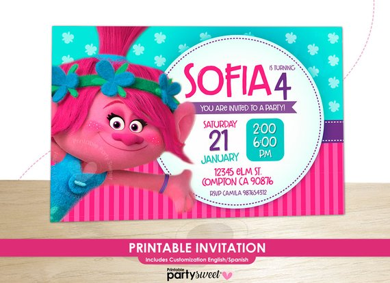 graphic about Trolls Printable Invitations referred to as Pin upon Products and solutions