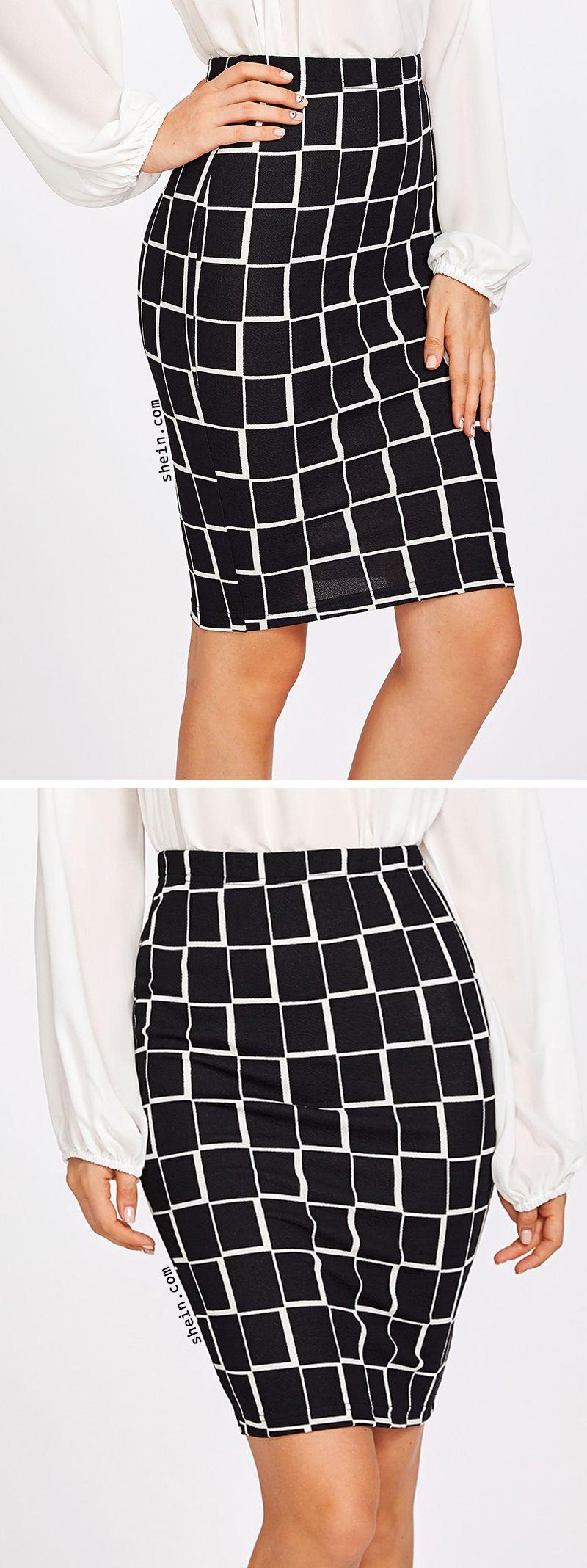 SHEINSquare Print Pencil Skirt