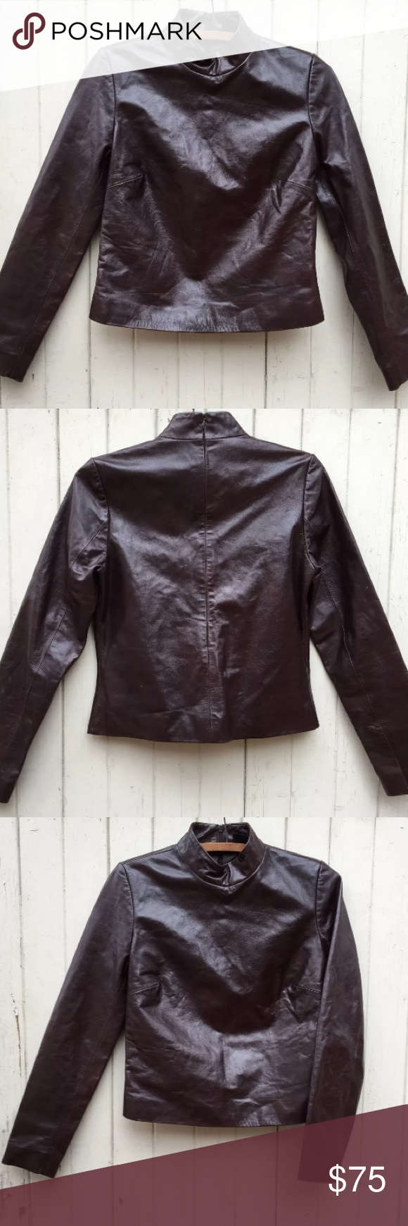 """Brown leather turtleneck, vintage Gap, size 4 Rich, dark espresso brown genuine leather turtleneck top by Gap.  With long sleeves and a slim fit.  Lined in brown satin, and with zip closure at the center back.  Marked size 4.  In good vintage condition, with some light distressing (of the appealing variety that enhances vintage leather).   Shoulder-14.25"""" Sleeve-23""""  Bust-approx. 34"""" Waist-approx. 32"""" at natural waist/34"""" at bottom  Length-just under 20"""" as measured from base of collar to…"""