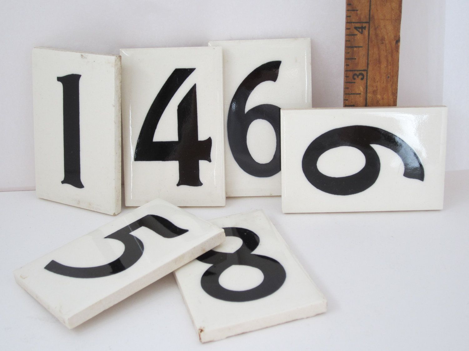 Vintage tile house number one ceramic black and white treasury item 11 00 via etsy