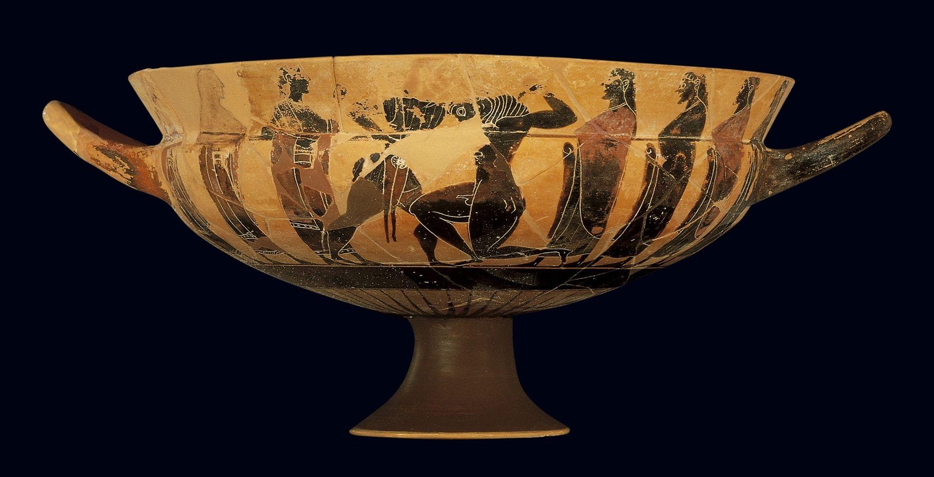 Attic Black-Figure Komast Cup (Getty Museum)