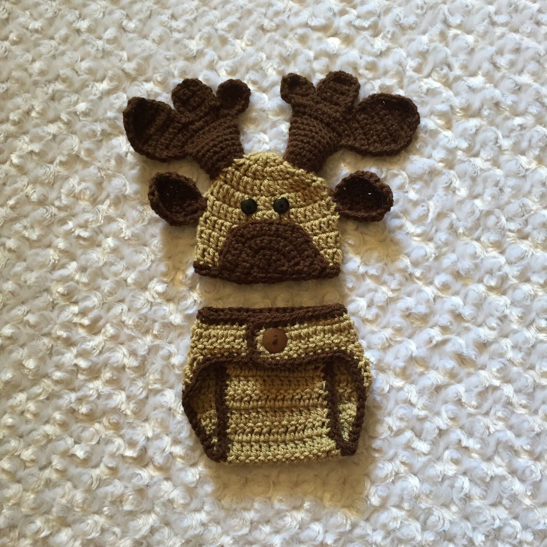 8a057a545b7 Newborn Moose Photo Prop Diaper Cover   Hat Outfit ...
