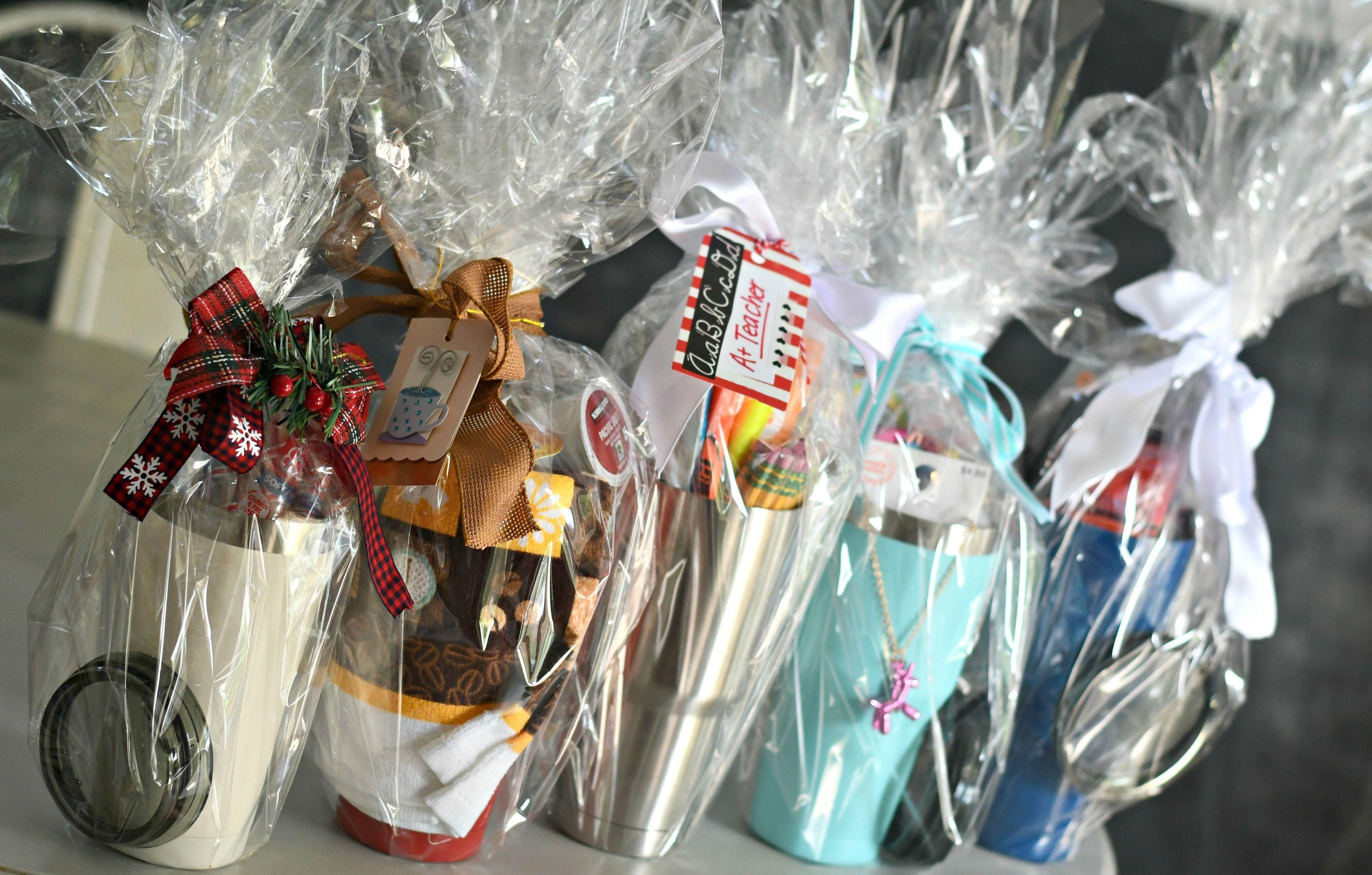 Diy tumbler gift basket ideas tumblers wrapped in