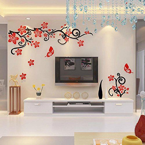 alicemall fabulous acrylic 3d flowers and vines tv wall on wall stickers design id=33515