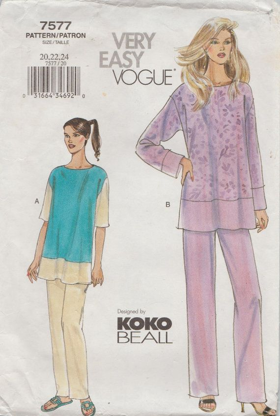 Very Easy Vogue 7577 / Sewing Pattern By Koko Beall / Tunic And ...