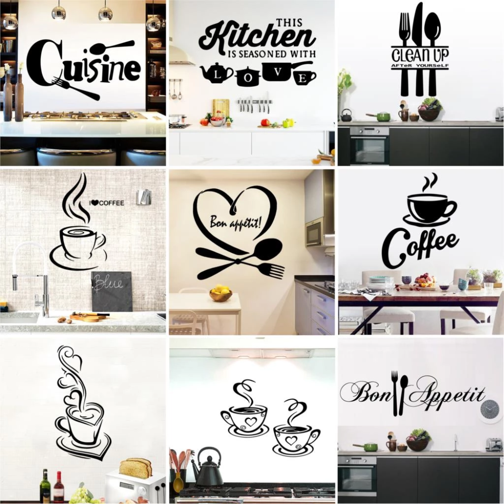Kitchen Fun Vinyl Wall Decals Large Stickers For Fridges Windows Walls Cupboards Etc Humorous Coffee Food Bakery Cafe Decor Kitchen Wall Decals Kitchen Wall Stickers Wall Stickers Home Decor