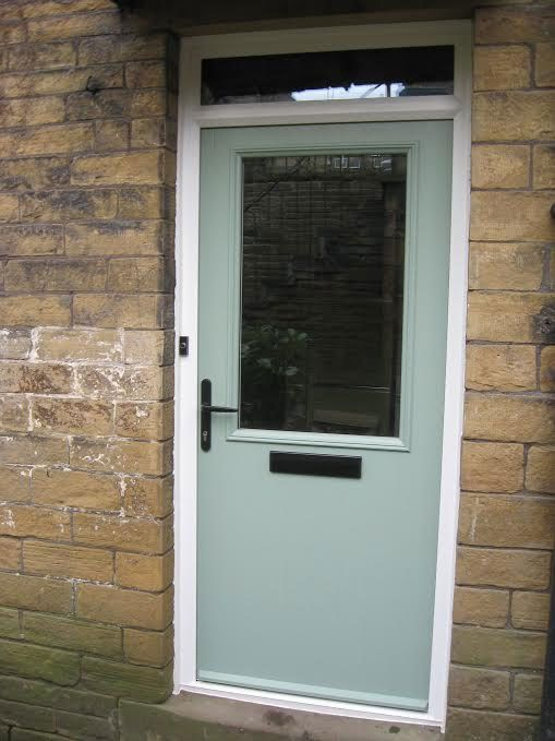 Cottage Half Glazed Composite Front Door In Chartwell Green With A