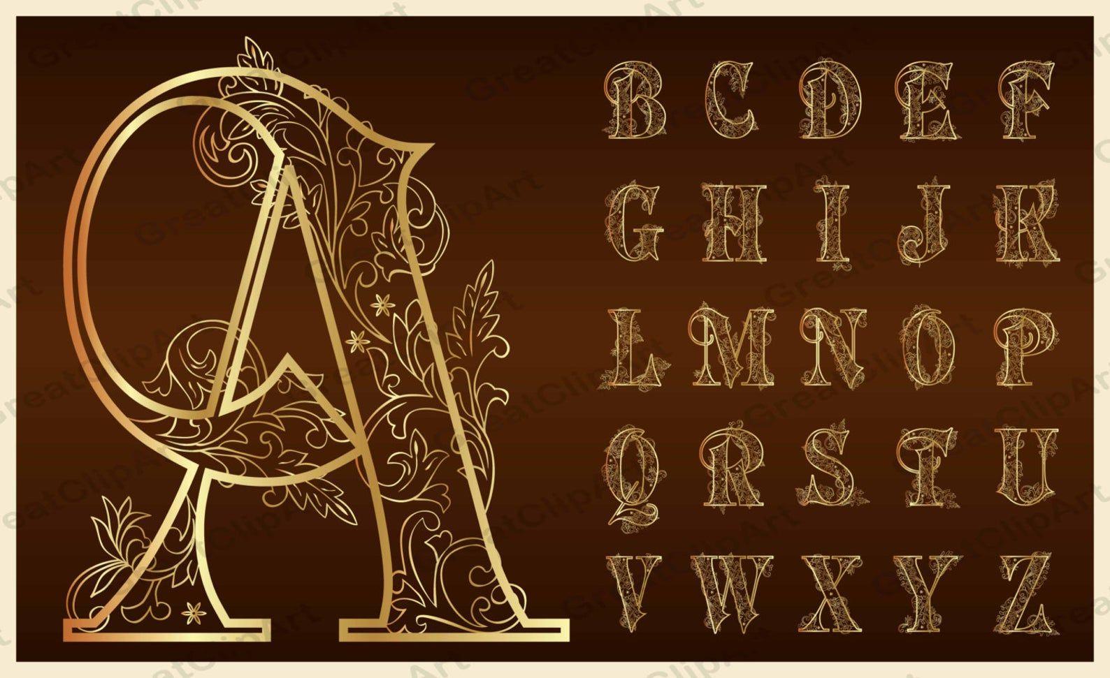 Verzierte Buchstaben Alphabet