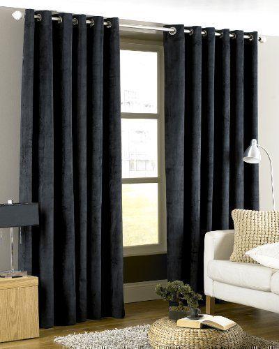 rideaux noir luxe velours pais 168x229cm avec anneaux passe tringle doubl rideaux. Black Bedroom Furniture Sets. Home Design Ideas