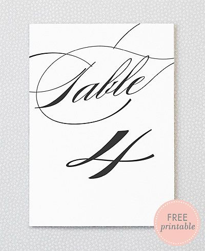 Free Printable Table Numbers – Pretty Script/Calligraphy – From