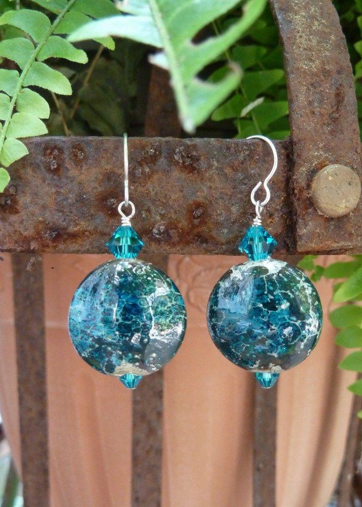 Blue Lampwork Earrings, Lampwork Glass Earrings, Artisan Earrings, Statement Earrings, Swarovski Crystals, Sterling Silver Earwires | SuzanneNoelDesigns - Jewelry on ArtFire