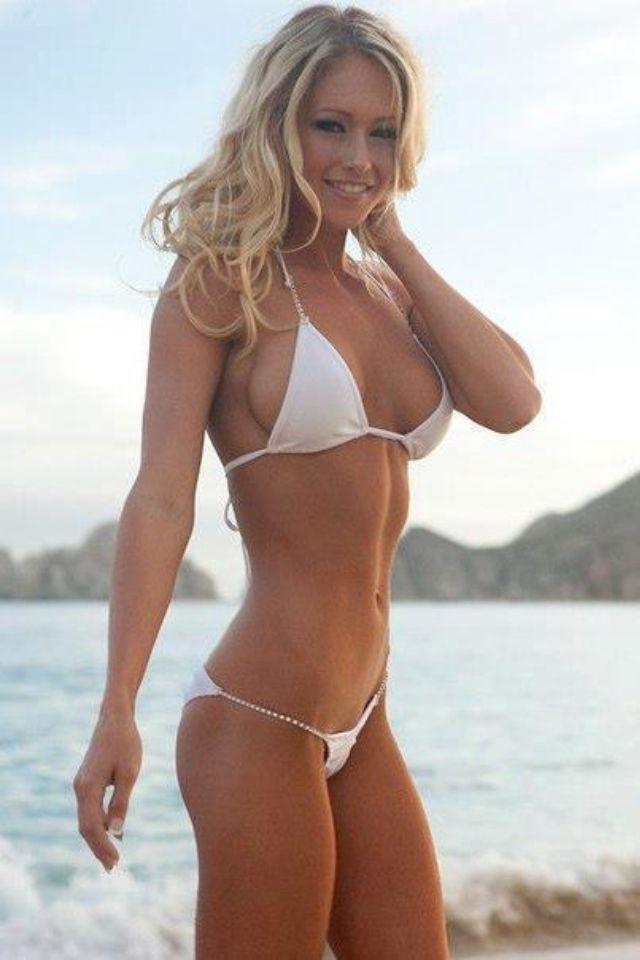 blonde string bikini Skinny